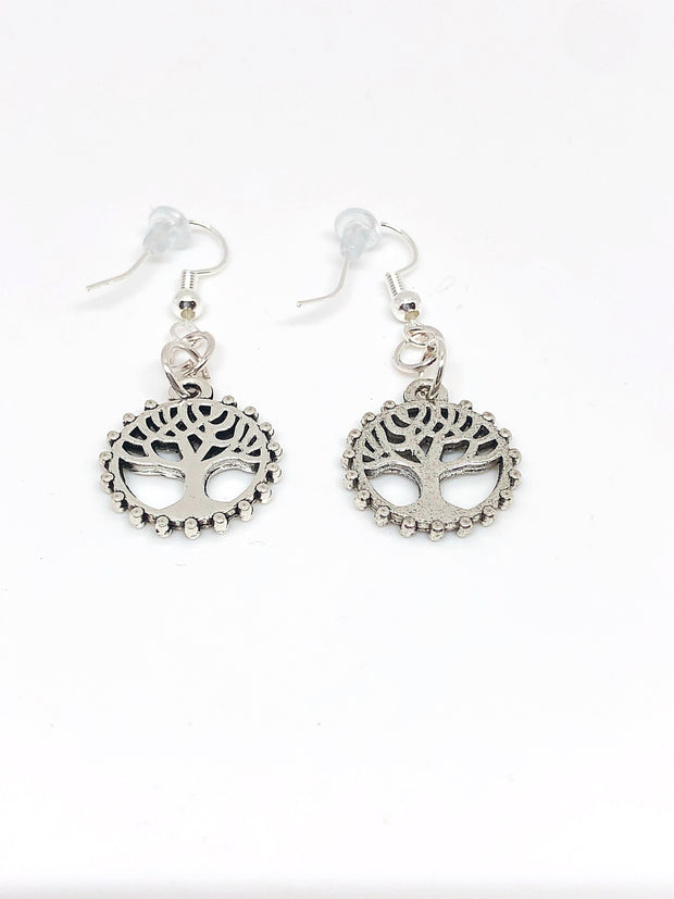 Nolu Jewels Tree Of Life In A Circle Silver Earrings - The Gathering Shops