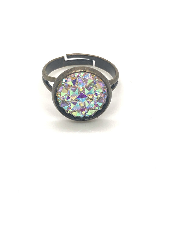 Nolu Jewels Crystal Druzy Brass Ring - The Gathering Shops