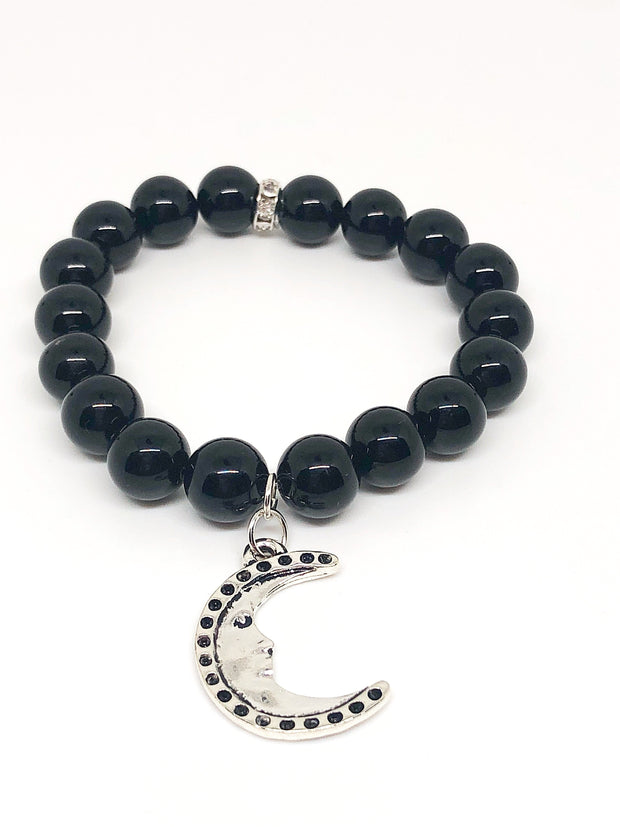 Nolu Jewels Black Onyx Beaded Bracelet With Crescent Moon Charm - The Gathering Shops