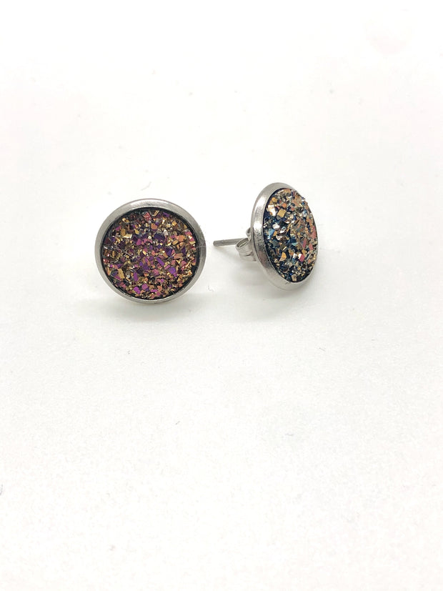 Nolu Jewels Rose Gold Druzy Stainless Steel Earrings - The Gathering Shops