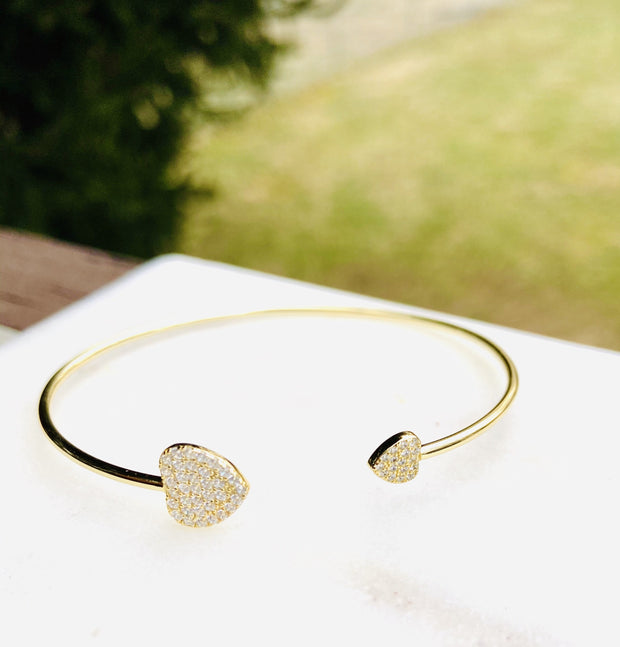 Lily Max All Hearts Gold Pave Stones Bangle - The Gathering Shops