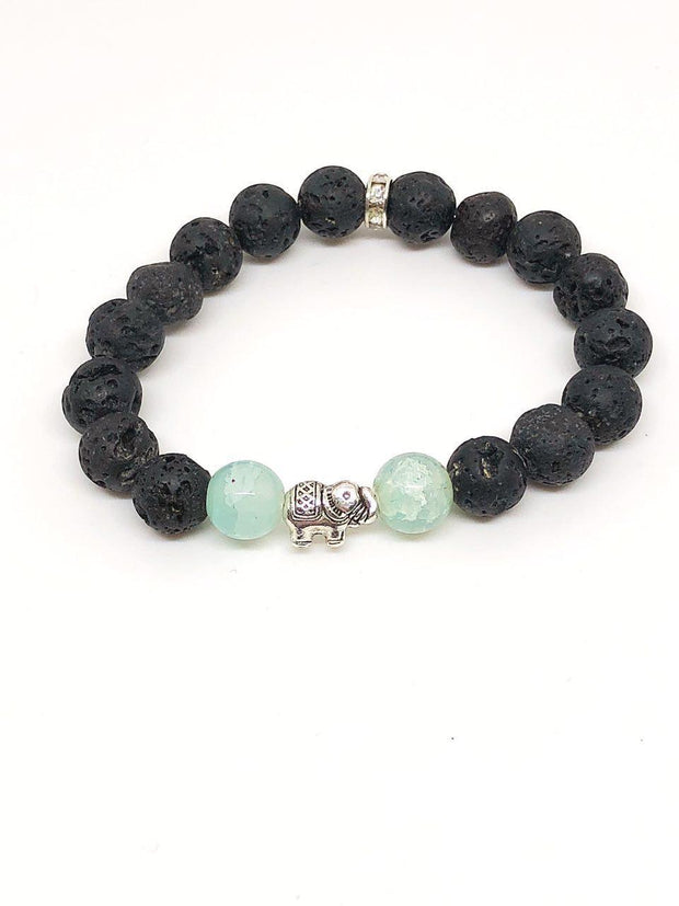 Nolu Jewels Elephant and Aquamarine Essential Oil Diffuser Bracelet - The Gathering Shops