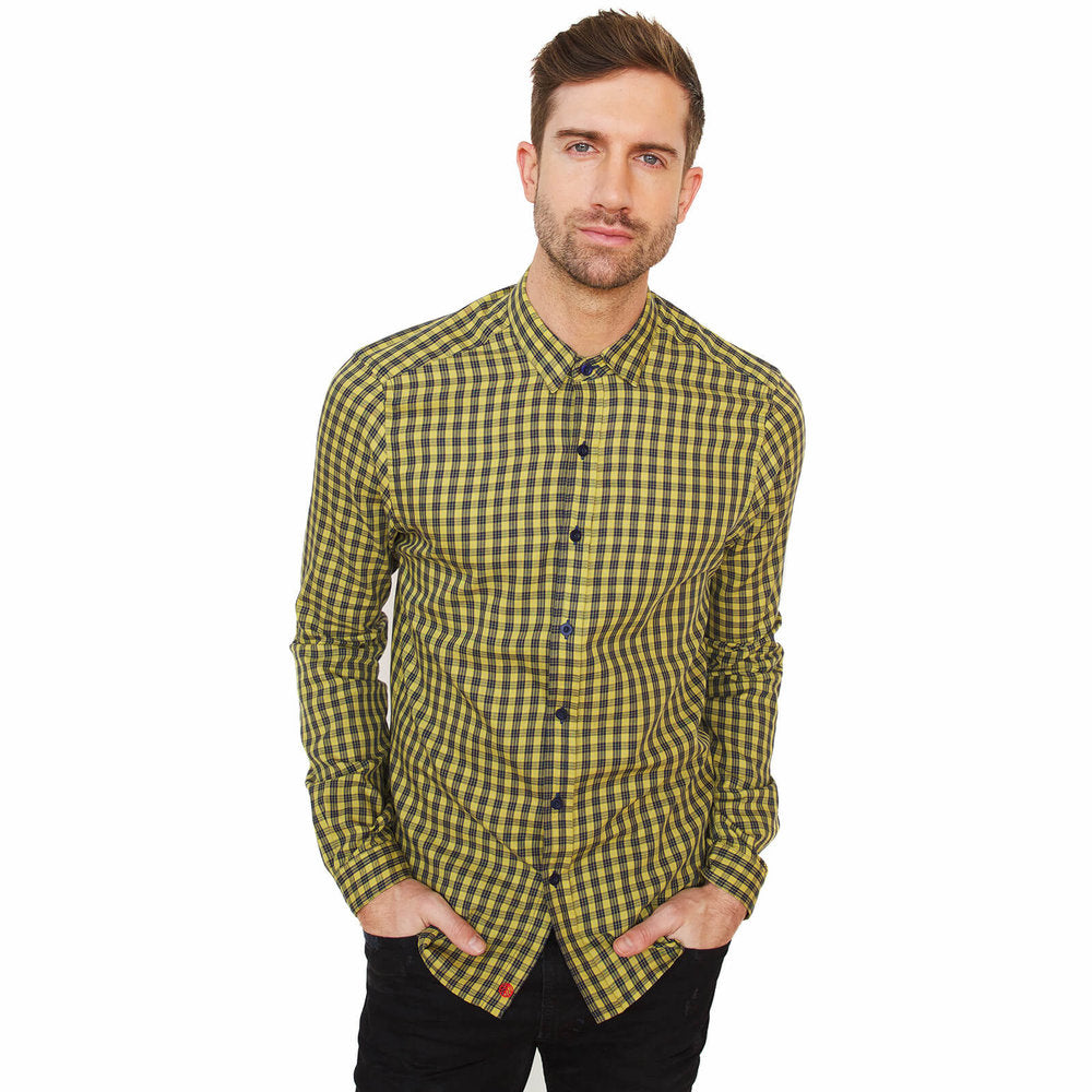 Vustra Bumblebee Check Long Sleeve Button Down Shirt - The Gathering Shops
