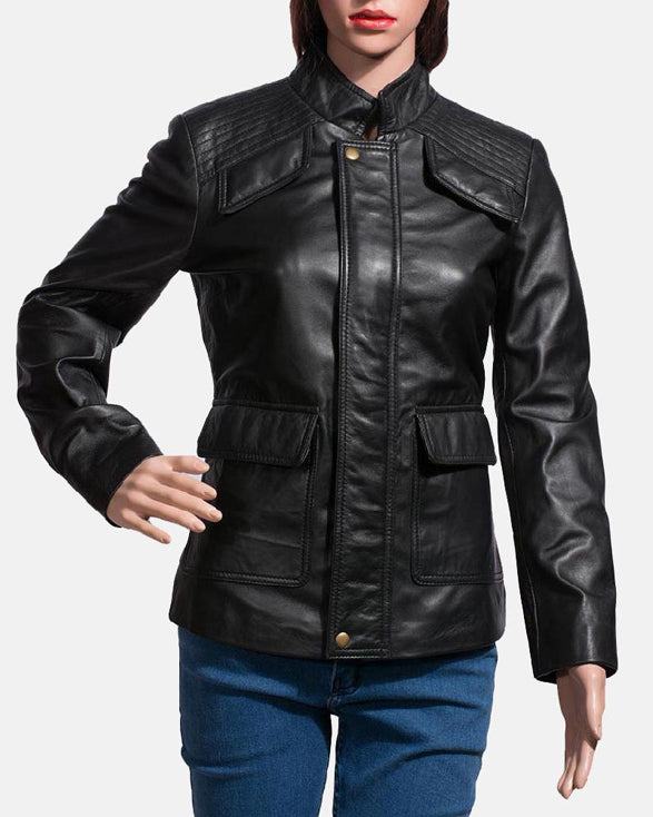 Express Strada Black Leather Jacket for Women - Get Custom Leather Jackets