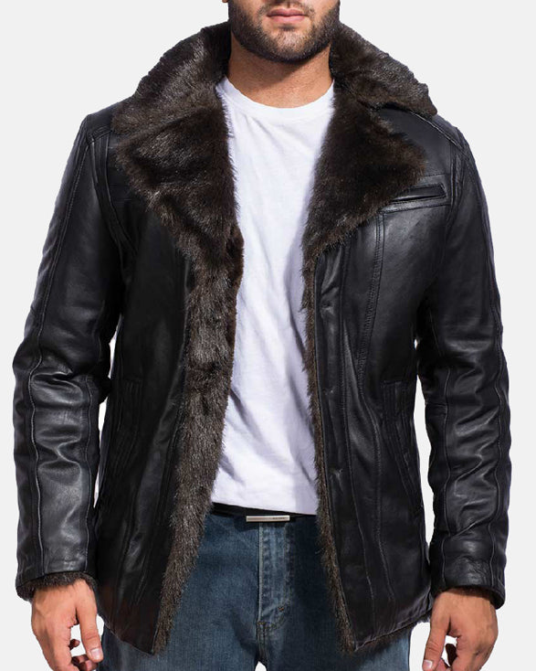 Furcliff Black Leather Coat - Get Custom Leather Jackets