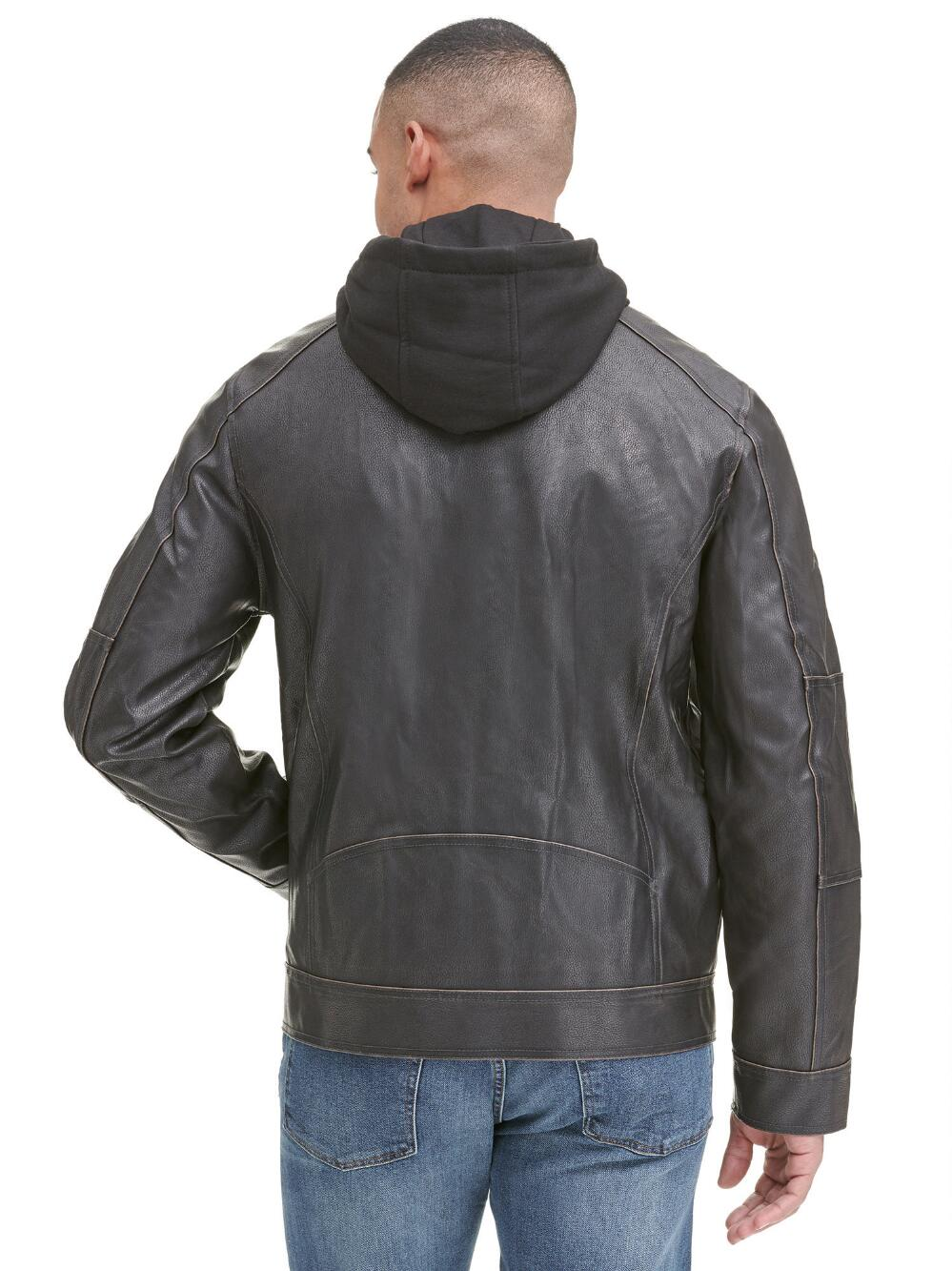 Patch Pocket Hooded Faux-Leather Jacket - Get Custom Leather Jackets