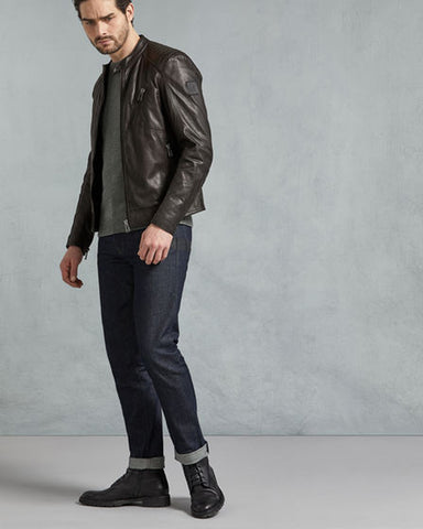 V Racer Jacket In Dark Brown Leather - Get Custom Leather Jackets