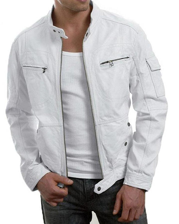Mens Cafe Racer White Leather Jacket - Get Custom Leather Jackets