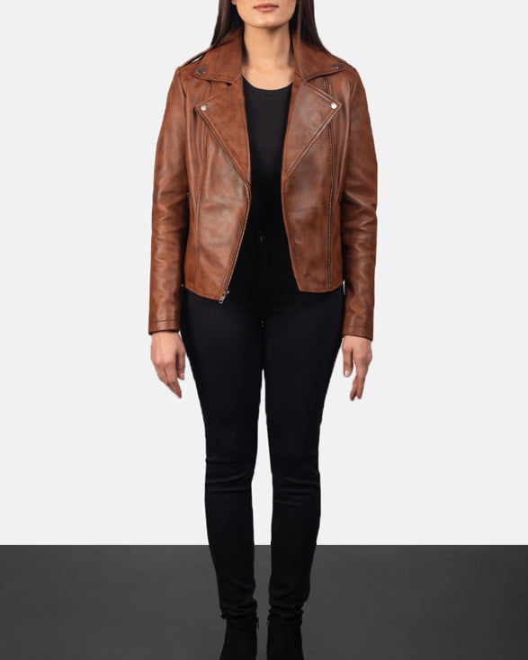 Flashback Brown Leather Biker Jacket - Get Custom Leather Jackets
