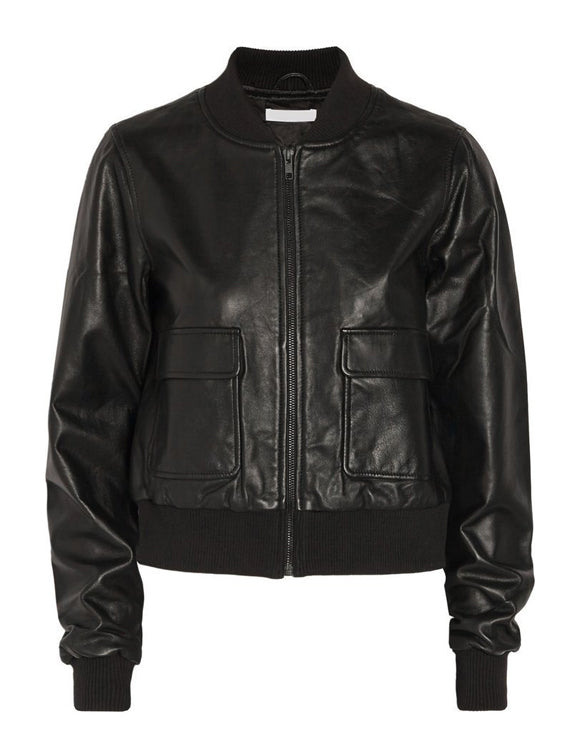 Super Barry Women Bomber Black Leather Jackets - Get Custom Leather Jackets