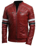Mens Cafe Racer Red Striped Leather Jacket - Get Custom Leather Jackets