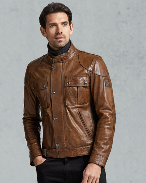 In Cognac Hand-Waxed Leather - Get Custom Leather Jackets