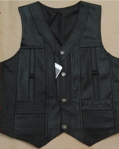 2019 High-End Brand Men's Leather Waistcoats Large Size Real Sheepskin Vest Soft Black - Get Custom Leather Jackets
