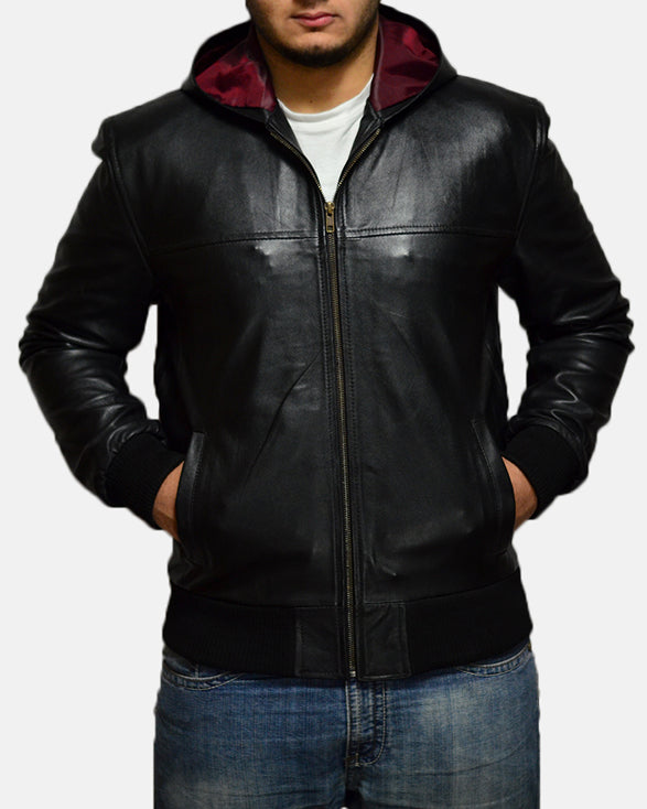 Nintenzo Black Hooded Leather Jacket - Get Custom Leather Jackets