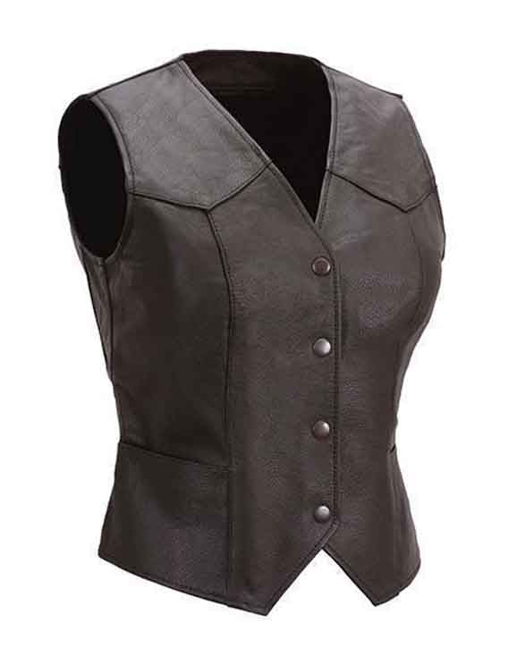 Super Biker Women Leather Vests - Get Custom Leather Jackets