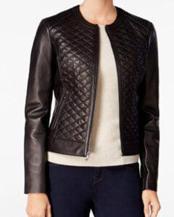 Quilted Formal Black Leather Jacket For Women - Get Custom Leather Jackets