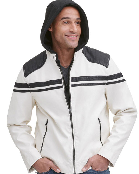 Rugged Faux-Leather Jacket w/ Hood - Get Custom Leather Jackets