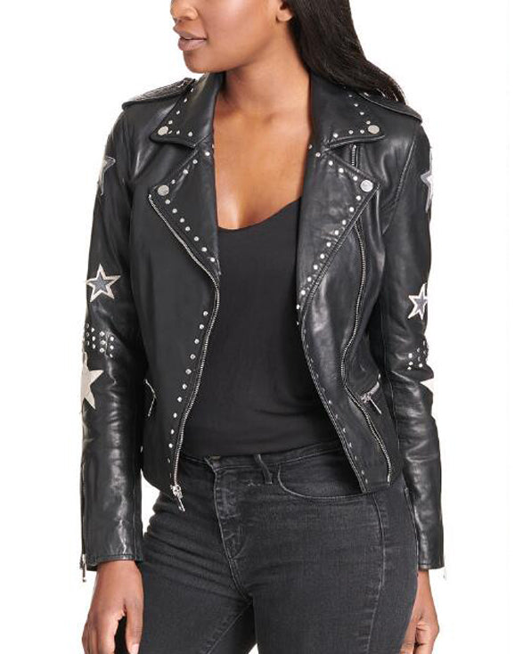 Tan Black Leather Blazer For  Women - Get Custom Leather Jackets