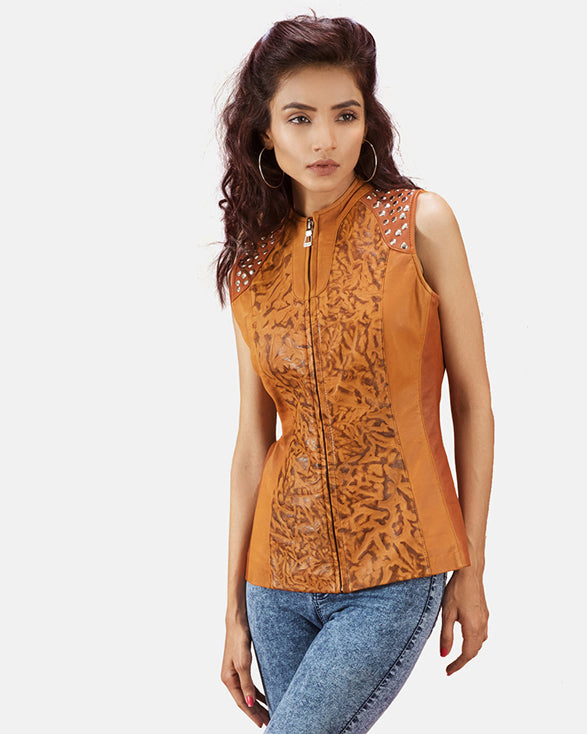 Westina Tan Dye Leather Vest - Get Custom Leather Jackets