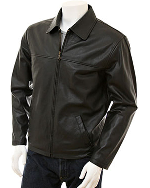 Men's Black Harrington Leather Jacket - Get Custom Leather Jackets