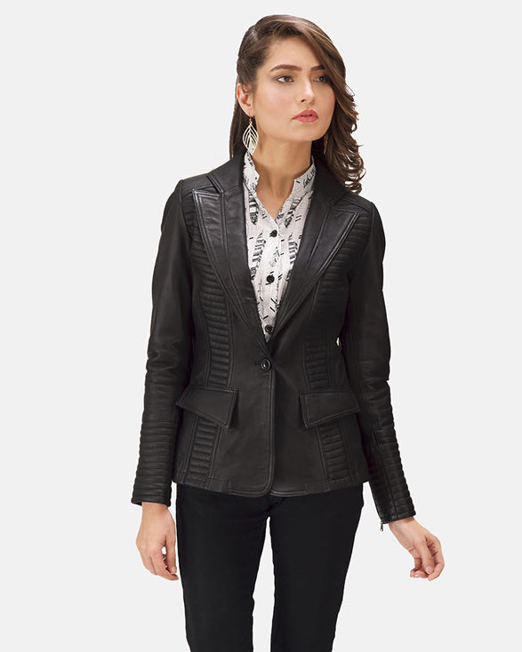Selina Black Leather Blazer - Get Custom Leather Jackets