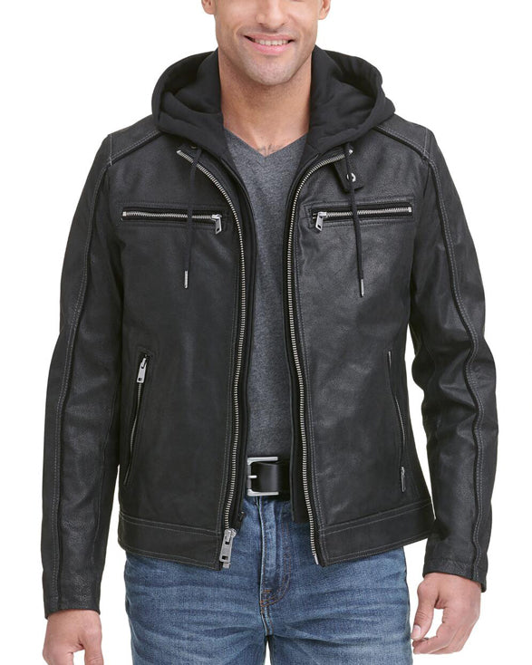 Vintage Hooded Moto Leather Jacket - Get Custom Leather Jackets