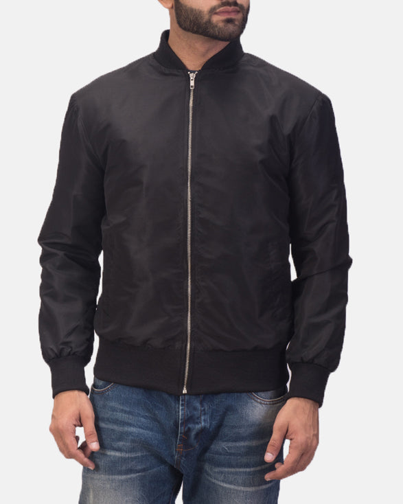 Zack Black Bomber Jacket - Get Custom Leather Jackets