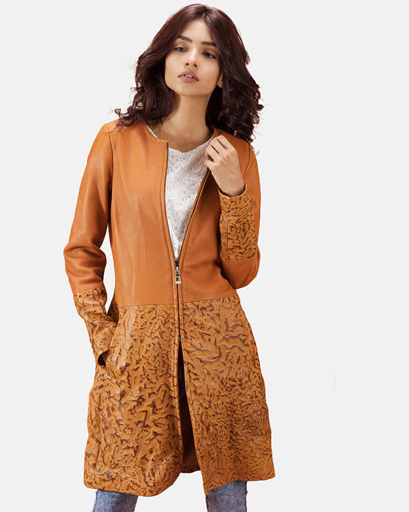 Sandy Tan Dye Leather Coat - Get Custom Leather Jackets