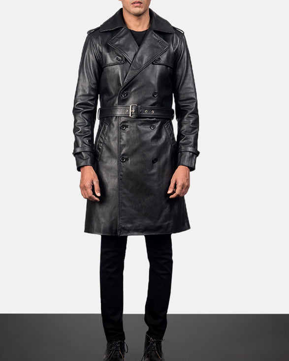 Casual Royson Black Leather Duster Coat - Get Custom Leather Jackets