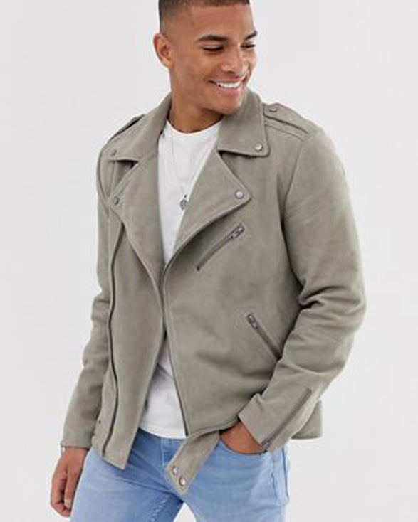Suede Biker Jacket In Stone - Get Custom Leather Jackets