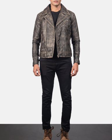 Danny Quilted Brown Leather Biker Jacket - Get Custom Leather Jackets