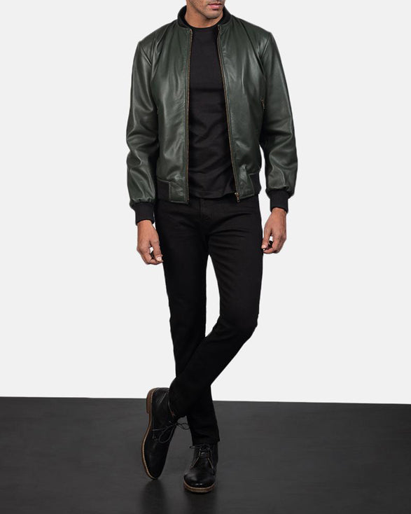 Green Leather Bomber Jacket - Get Custom Leather Jackets