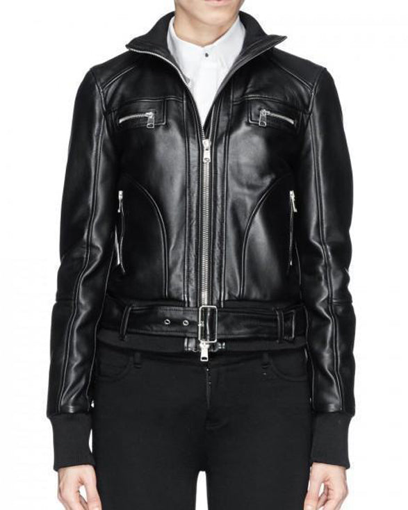 Super Bizco Women Bomber black Leather Jackets - Get Custom Leather Jackets
