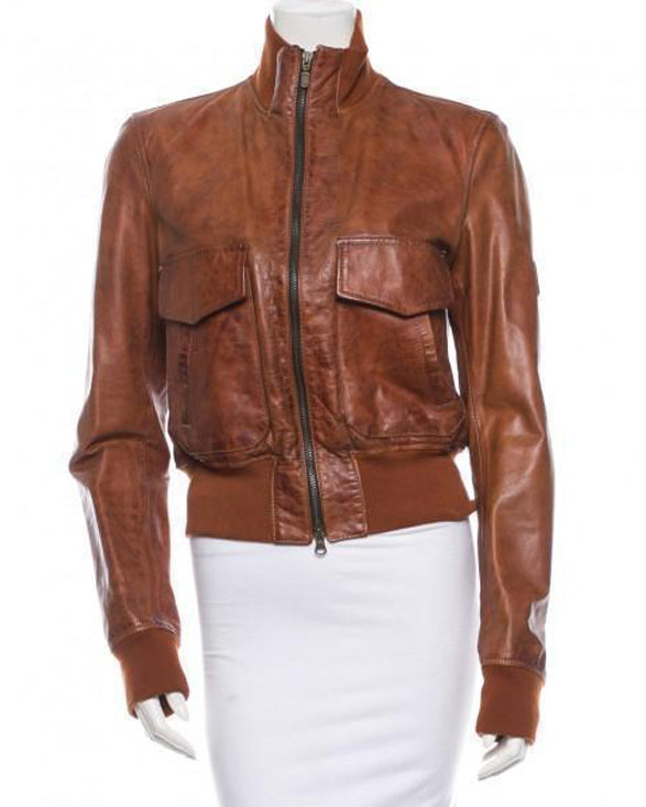 Super Bossy Women Bomber Brown Leather Jackets - Get Custom Leather Jackets