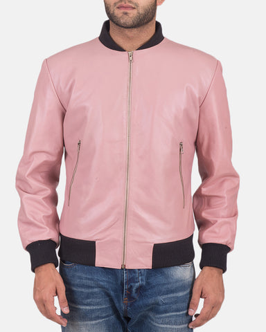 Shane Pink Leather Bomber Jacket - Get Custom Leather Jackets