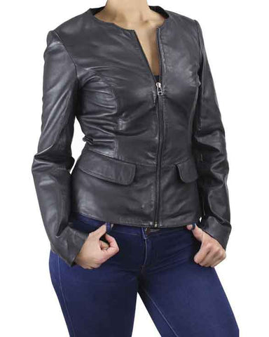 Paullete Collarless Women's Black Zip Leather Jacket - Get Custom Leather Jackets