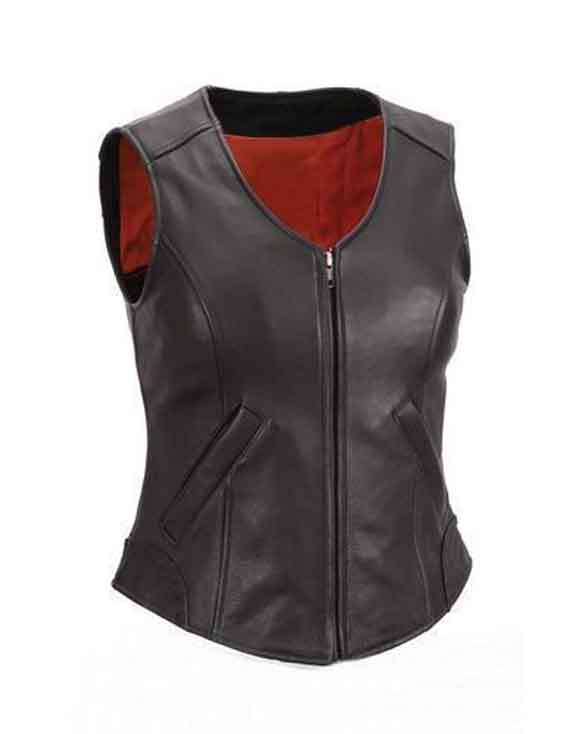 Super Zipper front Women Black Leather Vests - Get Custom Leather Jackets