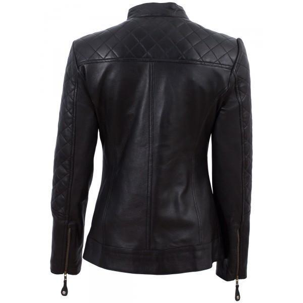 Women's Super Cafe Racer Black Ladies Leather Jacket (Best Selling) - Get Custom Leather Jackets
