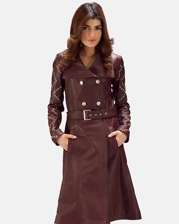 Sweet Susan Black Leather Trench Coat - Get Custom Leather Jackets