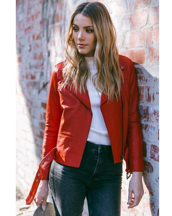 Elly Red Lambskin Leather Jacket for women - Get Custom Leather Jackets