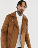 Faux Suede Biker Jacket In Tan - Get Custom Leather Jackets