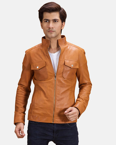 Mens Bikerson Distressed Brown Leather  Jacket - Get Custom Leather Jackets