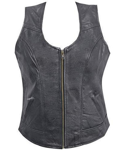 Super Zipping Women Leather Vests - Get Custom Leather Jackets