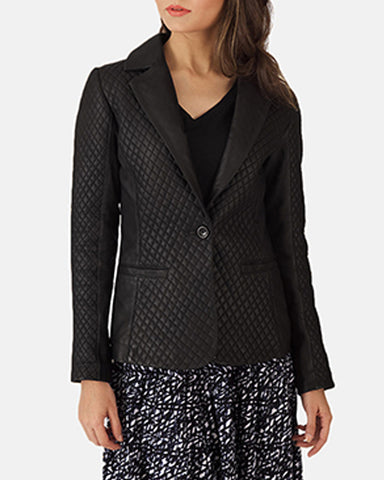 Cora Quilted Black Leather Blazer - Get Custom Leather Jackets