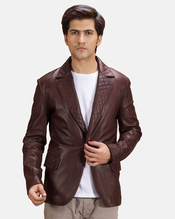 Radaron Quilted Maroon Leather Blazer - Get Custom Leather Jackets