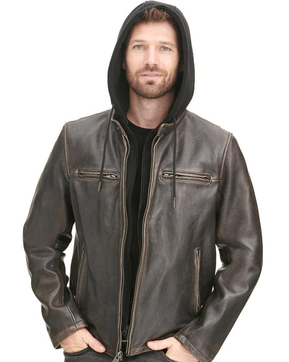 Alan Vintage Moto Leather Jacket w/ Hood - Get Custom Leather Jackets