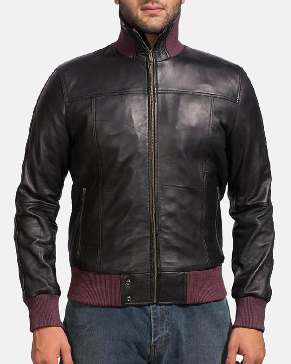 Upscale Black Leather Bomber Jacket - Get Custom Leather Jackets