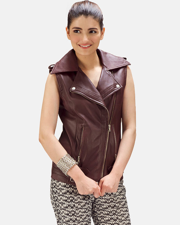 Rhonda Maroon Leather Biker Vest - Get Custom Leather Jackets