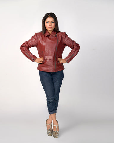 Nova  Maroon Biker Jacket - Get Custom Leather Jackets