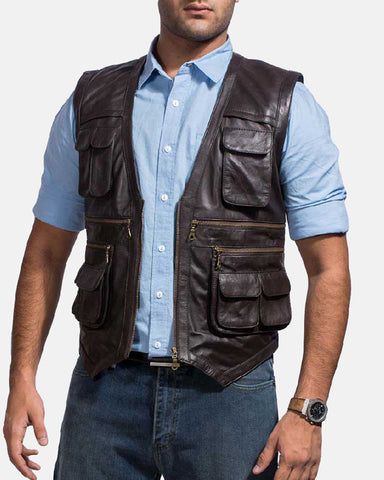Safari Brown Leather Vest - Get Custom Leather Jackets